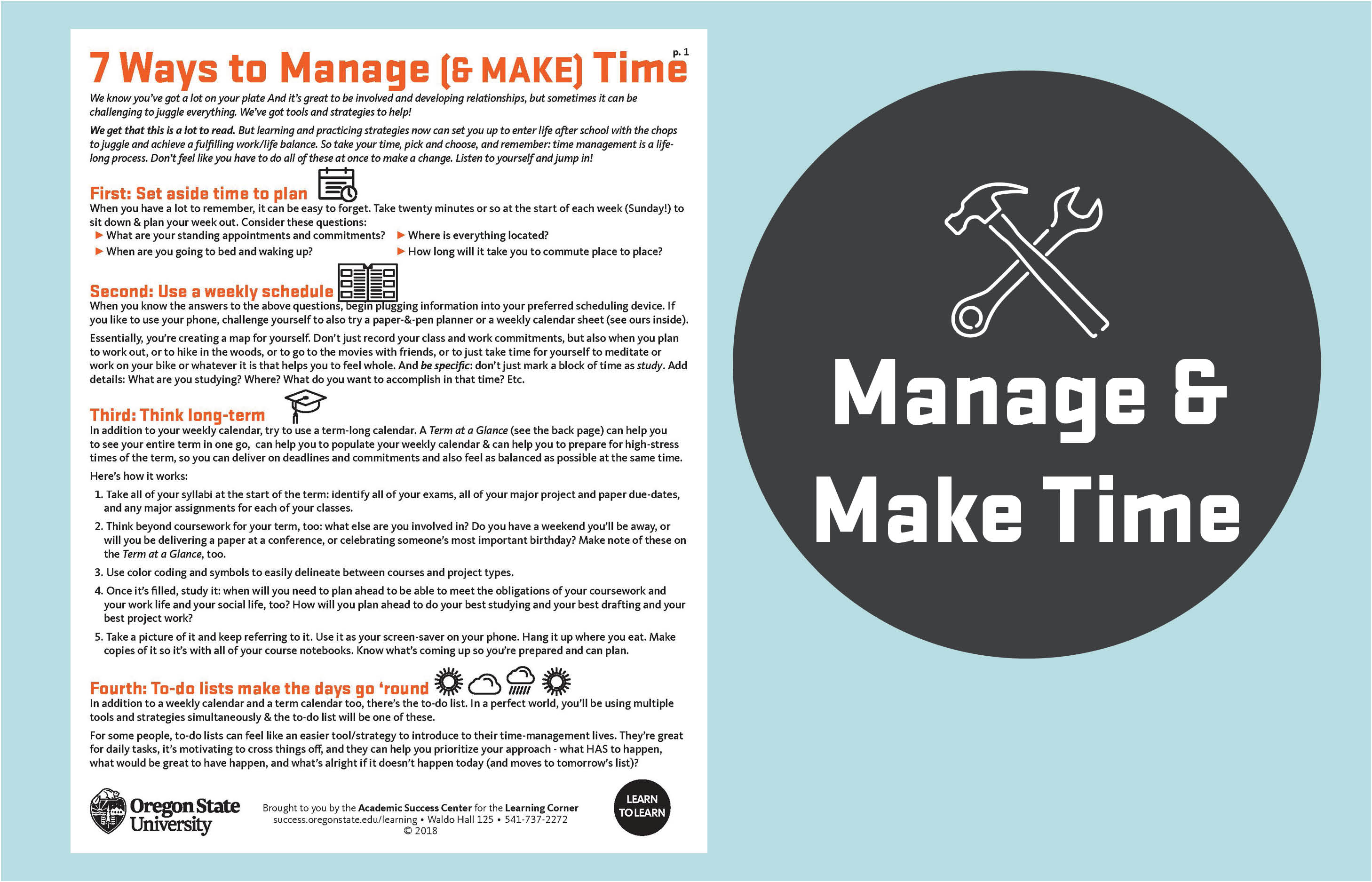 7 ways to manage and make time handout