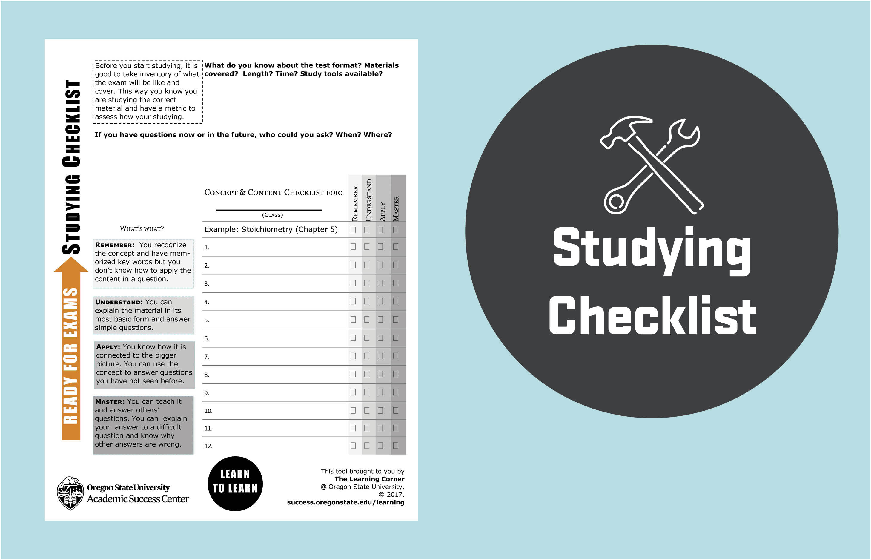 Studying Checklist
