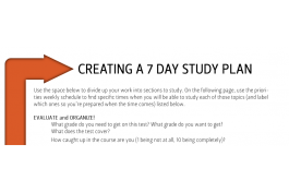 image of 7 day study plan worksheet