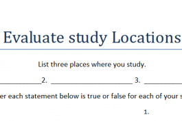screenshot of our study location evaluation worksheet