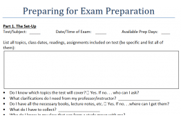 screenshot of exam prep preparation sheet