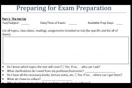 screenshot of exam prep preparation sheet