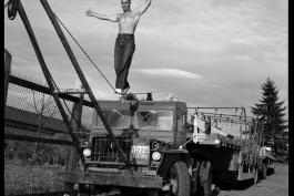 Man walking on tightrope