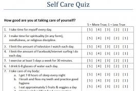 Screenshot of a self-care quiz worksheet