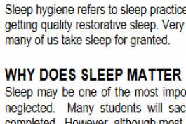screenshot of sleep hygiene worksheet