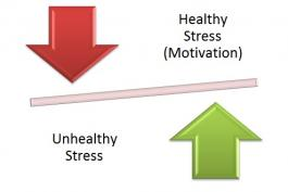 Image of down and up arrows to depict healthy and unhealthy stress