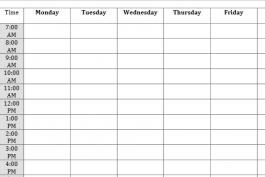 Partial view of weekly calendar worksheet