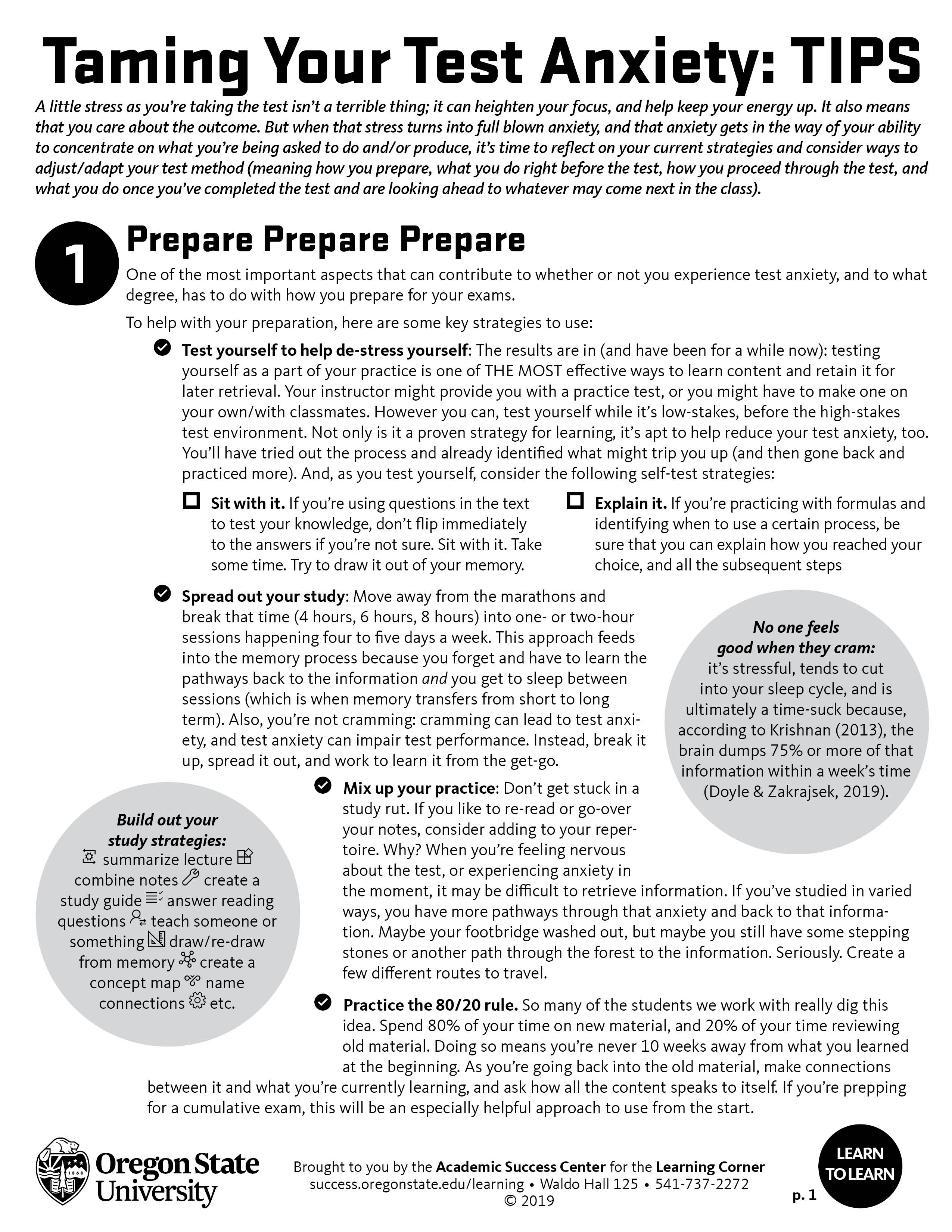 Tame your test anxiety: tips handout