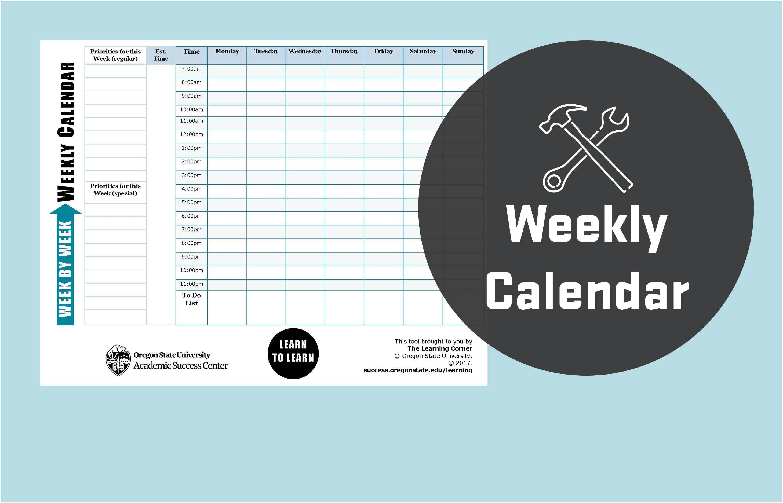 Weekly calendar tool